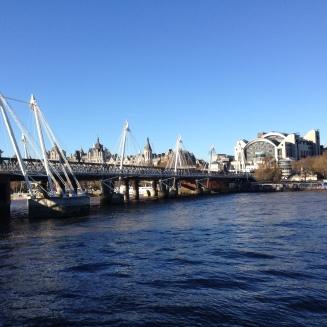 Golden Jubilee Bridge either side of Hungerford Bridge